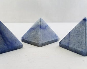Blue Quartz Polished Gemstone Pyramid