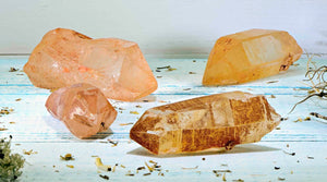 Tangerine Aura Quartz Natural Gemstone Point