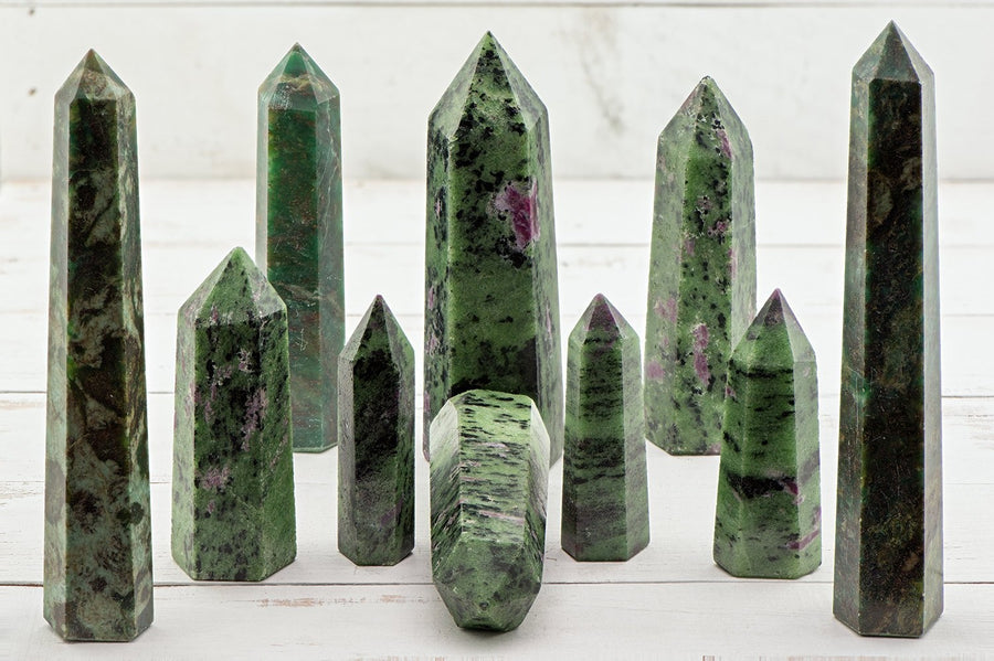 Ruby Zoisite Gemstone Obelisk Tower Point