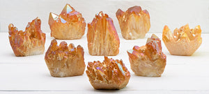 Tangerine Aura Quartz Natural Gemstone Cluster