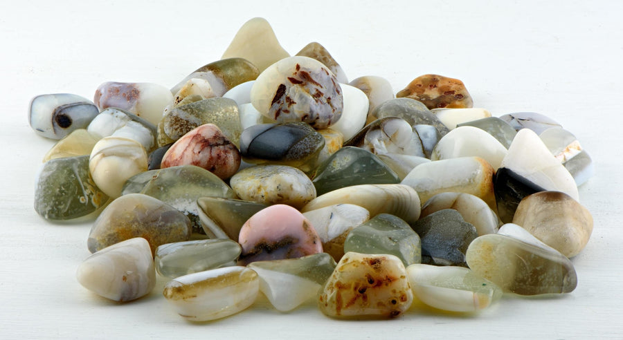 White Opal Tumbled Polished Gemstone