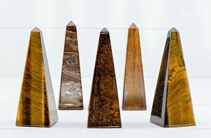 Tiger Eye Gemstone Obelisk Tower Point