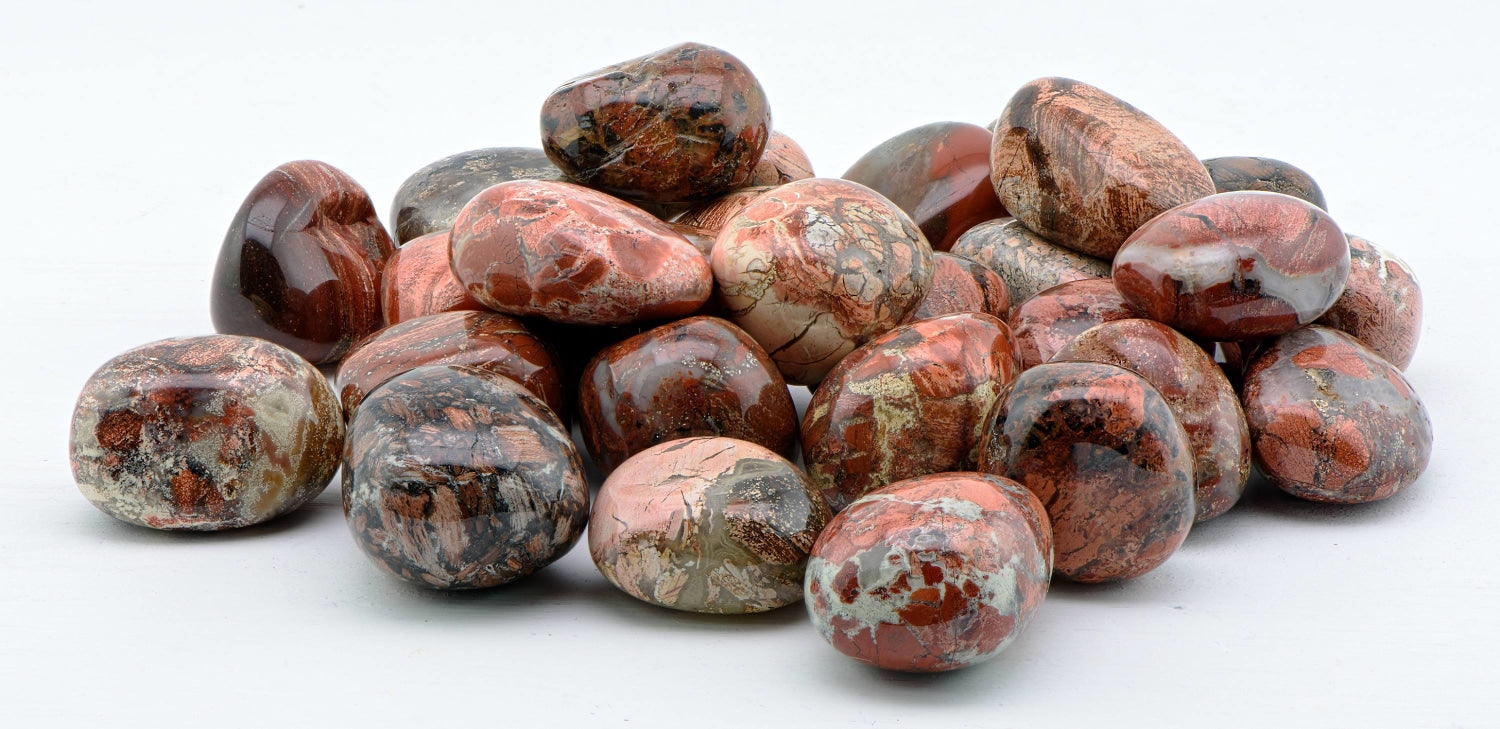 Red Silver Leaf Jasper Polished Tumbled Gemstone Crystal