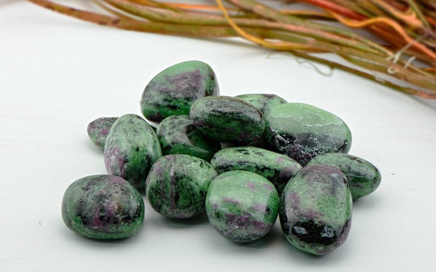 Ruby Zoisite Tumbled Polished Gemstone