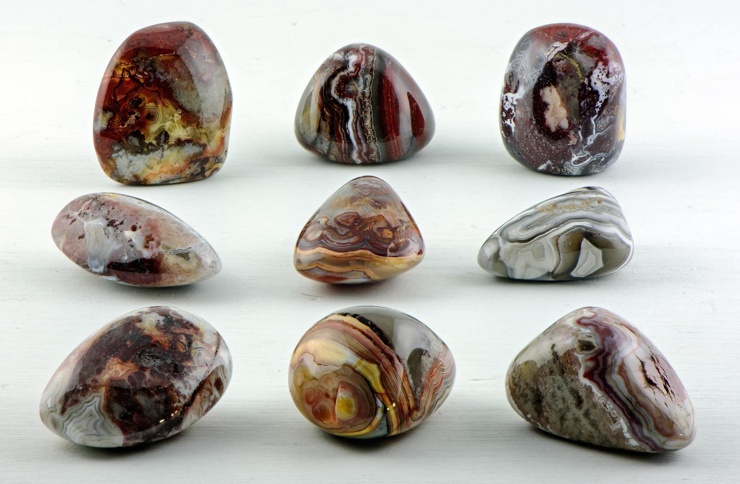 Set of 5 Red Crazy Lace Agate tumbled stones