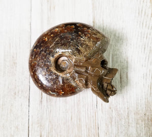 Ammonite Gemstone Fossil Skull - Stone Of Accepting Change In Life Natural Stones
