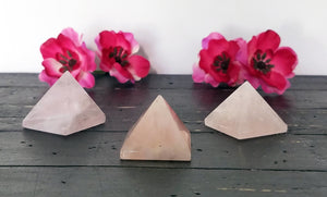 Rose Quartz Gemstone Polished Pyramid Carving