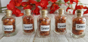 Carnelian Gemstone Chips Pebbles Bottle