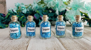 Turquoise Gemstone Chips Pebbles Bottle