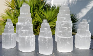Selenite Gemstone Tower - Mini Or Small Stone Of Clarity And Clearing Blockages Wands Massagers