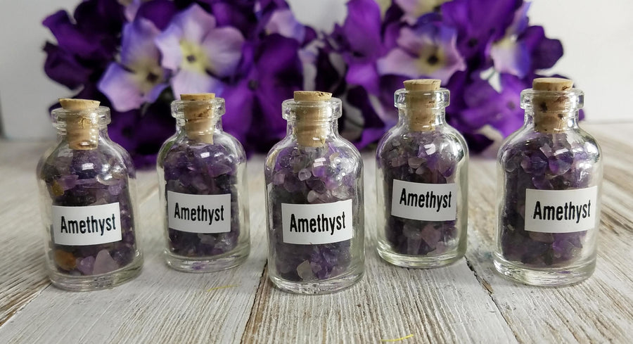 Amethyst Gemstone Chips Pebbles Bottle