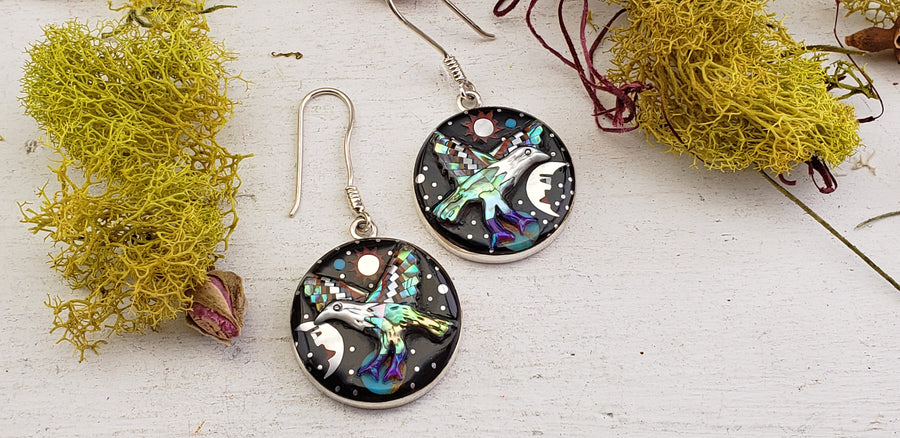 Multi Gemstone Inlay Bird & Galaxy Sterling Silver Earrings