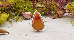 Orange Agate Gemstone Sterling Silver Ring