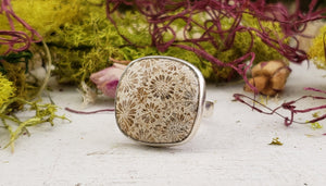 Fossil Coral Gemstone Sterling Silver Ring