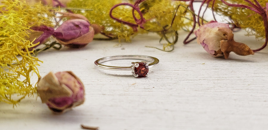 Garnet Gemstone Sterling Silver Ring