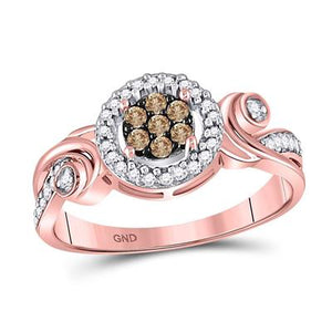 10k Rose Gold with Champagne & White Diamond Ring