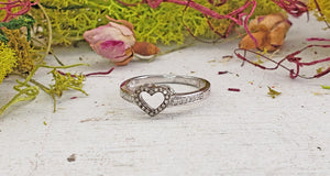 10k White Gold with Champagne & White Diamond Heart Ring