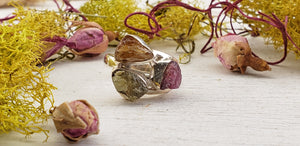 Pink, Green, and Gold Tourmaline Rough Sterling Silver Ring