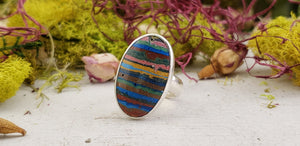 Rainbow Calsilica Gemstone Sterling Silver Ring