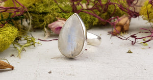 Rainbow Moonstone Gemstone Sterling Ring