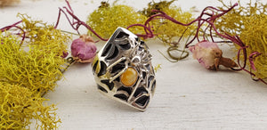 Cat's Eye Spider Sterling Silver Ring