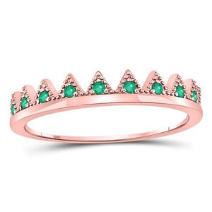 10k Emerald Gemstone Rose Gold Crown Ring