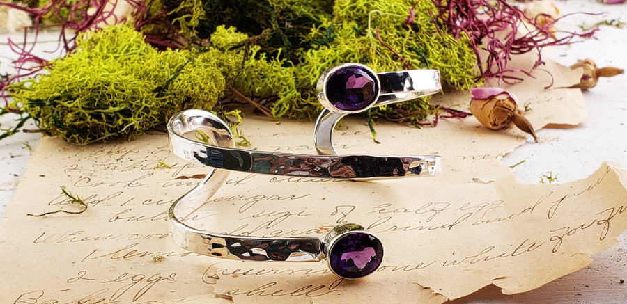 Amethyst & Purple Agate Gemstone Sterling Silver Cuff Bracelet Jewelry