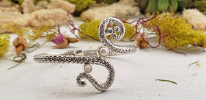 Pearl, Garnet, and Rainbow Moonstone Sterling Silver Octopus Tentacle Cuff Bracelet