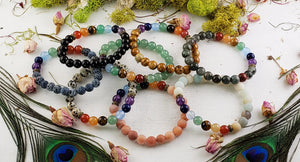 Seven Chakra Polished Gemstone Bead Bracelet Jewelry