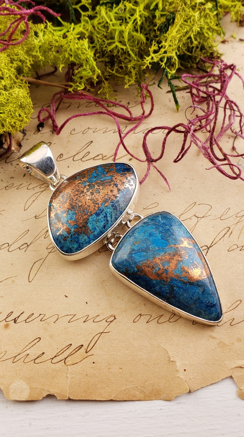 Alunite & Copper Gemstone Sterling Silver Pendant Jewelry