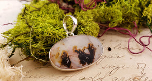 Scenic Agate Gemstone Sterling Silver Pendant Jewelry