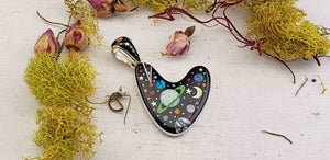 Gemstone Inlay Sterling Silver Galaxy Universe Pendant