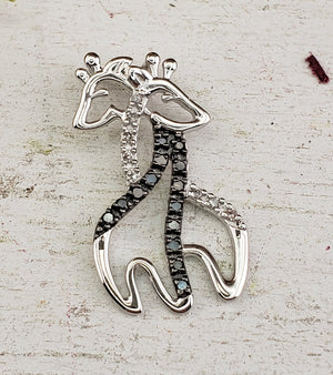10k White Gold Giraffe Pendant with White & Black Diamonds