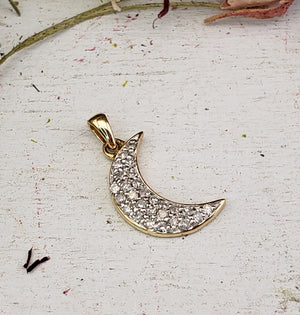 10k Yellow Gold Diamond Crescent Moon