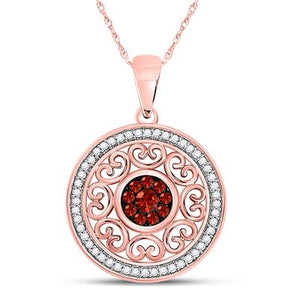 10k Rose Gold with Red & White Diamond Pendant