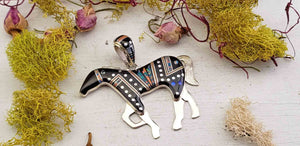 Gemstone Inlay Sterling Silver Horse Pendant