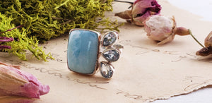 Larimar Gemstone Sterling Silver Ring Jewelry