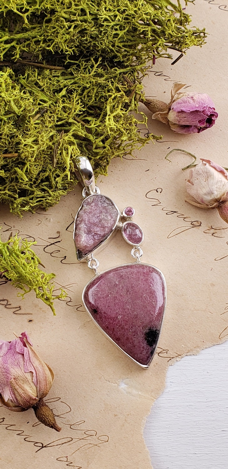Rhodonite Rough Natural Cabochon Sterling Silver Pendant Gemstone Jewelry