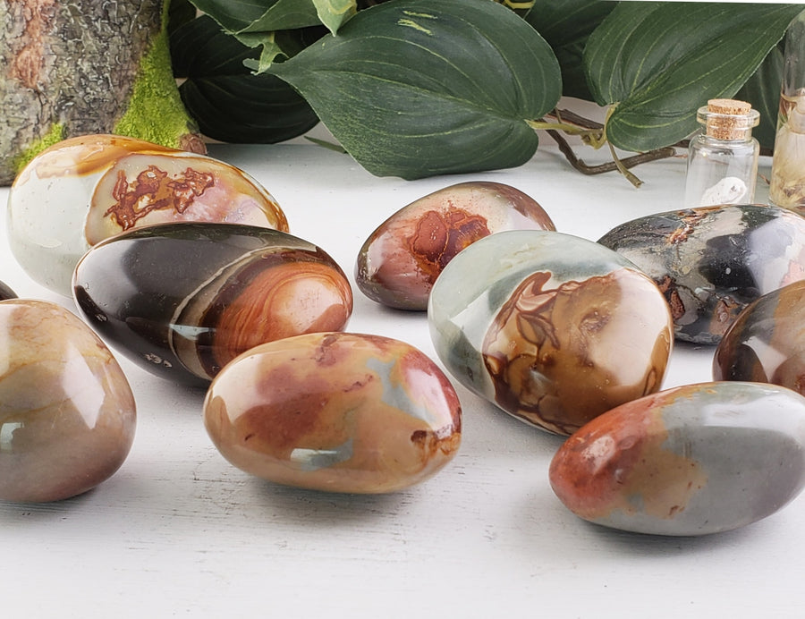 Polychrome Jasper Polished Reiki Palm Stone Gemstone Carvings