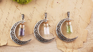 Moon Gemstone Chip Bottle Pendant Jewelry