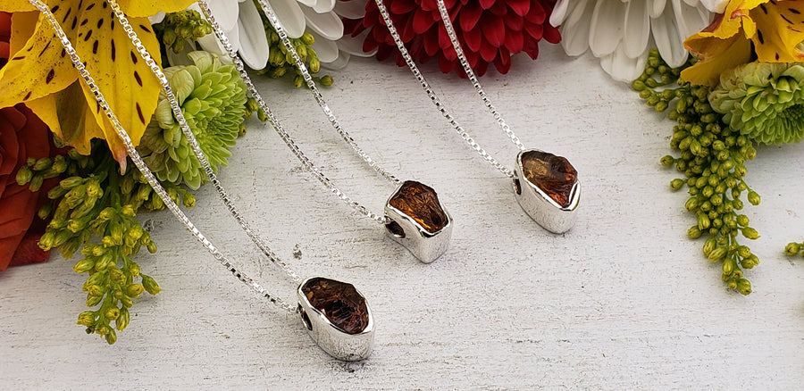 Amber Sterling Silver Gemstone Necklace - Salma