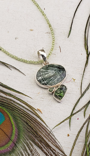 Seraphinite Gemstone Pendant on Peridot Sterling Silver Necklace