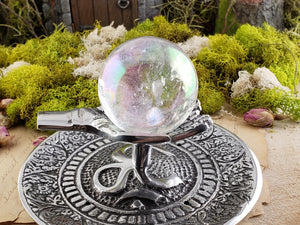 Metal Gemstone Orb Sphere Stand