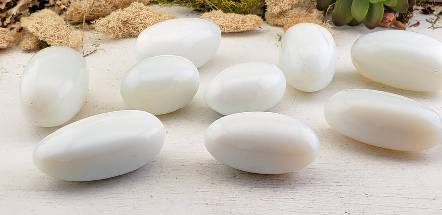 Polished Opalite Tumbled Oval Palm Stone