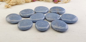 Angelite Gemstone Palm Meditation Stone