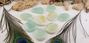 Sea Green Pistachio Calcite Meditation Palm Stone