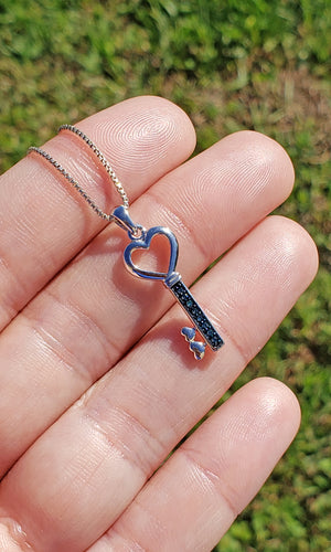 10k White Gold with Blue Diamond Heart Key Pendant