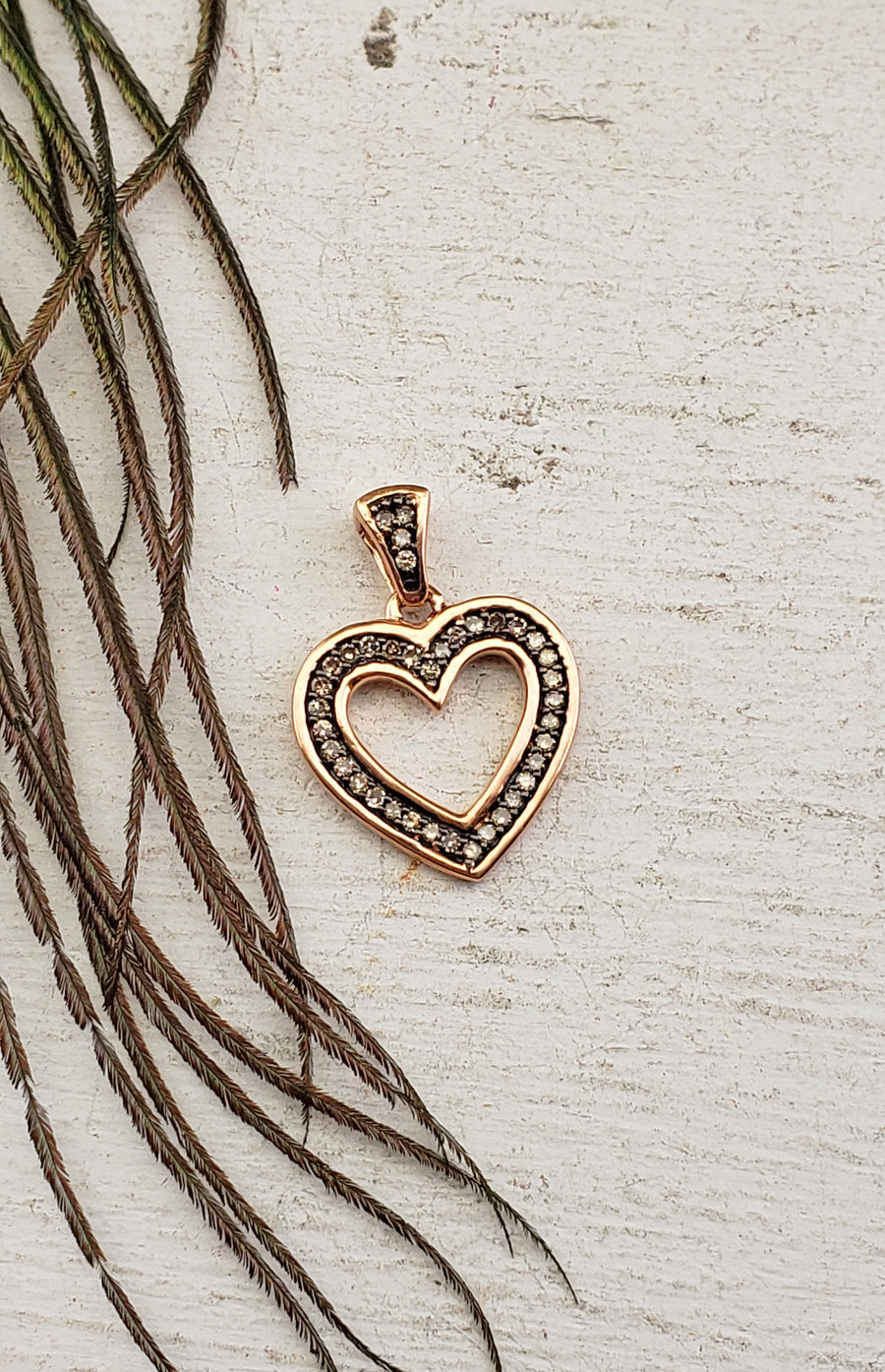 10k Rose Gold with White Diamonds Heart Pendant