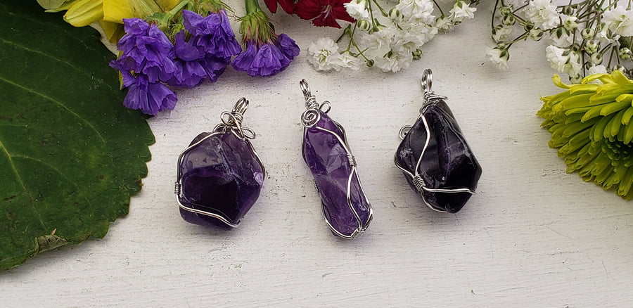 Amethyst Natural Gemstone Wrapped Pendant