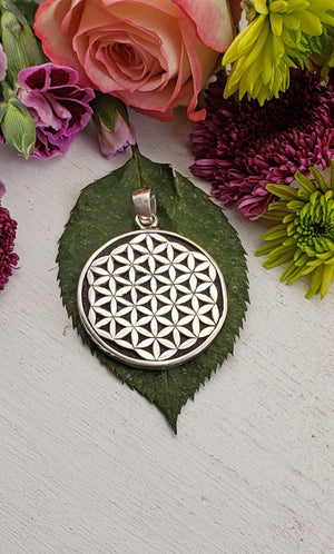 Lava Stone Sterling Silver Gemstone Flower of Life Pendant